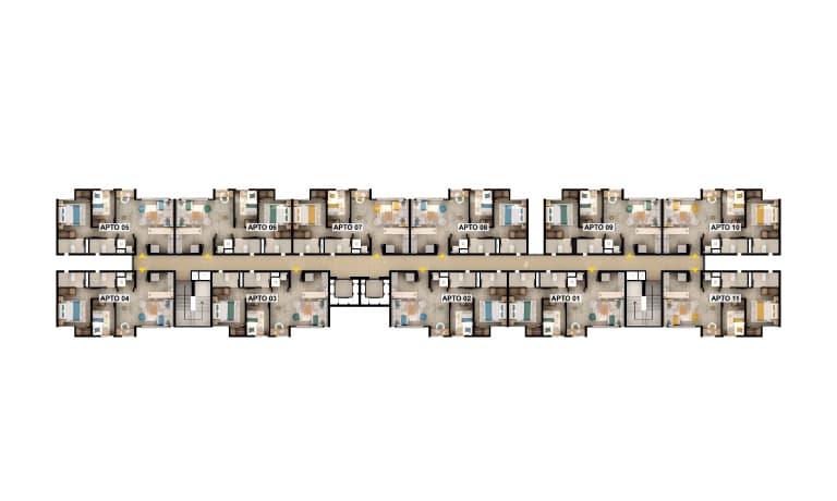 NOTA LEGAL MATERIAL PUBLICITARIO  Las imágenes son una representación arquitectónica del proyecto, pueden estar sujetas a modificaciones. Ninguna descripción oral puede ser tomada como representación del proyecto propuesto por los promotores. Las áreas mencionadas pueden sufrir cambios, ajustes y/o modificaciones como consecuencia directa de las modificaciones ordenadas por la curaduría o por la alcaldía competente en la expedición de la licencia urbanística o por la autoridad competente. Las imágenes publicadas son representaciones digitales del diseño y junto con los muebles exhibidos, pueden variar su percepción y construcción final. Los muebles son ilustrativos y no se entregan con el inmueble ni con las áreas comunes, para mayor detalle revisar las especificaciones de construcción. Los datos aquí publicados pueden variar sin previo aviso. Antes de tomar su decisión, infórmese en la sala de ventas y con su asesor comercial acerca de las condiciones y características del proyecto. Los apartamentos se entregarán en obra gris · Las imágenes son una representación gráfica e ilustrativa del proyecto, por lo tanto pueden presentarse variaciones en el diseño y acabados · La vegetación, mobiliario interior, personas y los vehículos son ayudas gráficas de lo que puede ser el proyecto en su funcionamiento, por lo que ésta representación no constituye una oferta u obligación de entregar en dicha forma. Algunas de las zonas verdes colindantes con el conjunto constituyen parques que serán cedidos y entregados al municipio, de acuerdo a la ley.